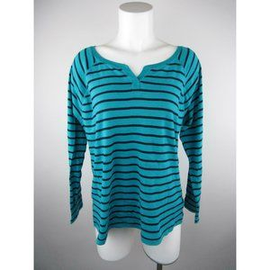 Chaps Cotton Sport Striped Long Sleeve Knit Top